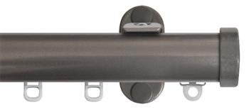 Renaissance 28mm Distinction Metal Curtain Pole Steel Sheen, Endcap