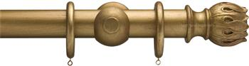 Advent 35mm Metallic Painted Wood Curtain Pole, Distressed Gold, Waterlily