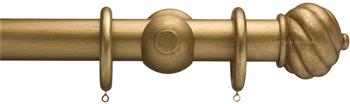 Advent 35mm Metallic Painted Wood Curtain Pole, Distressed Gold, Spiral Ball