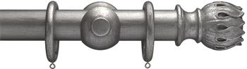 Advent 35mm Metallic Painted Wood Curtain Pole, Pewter, Waterlily