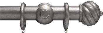 Advent 35mm Metallic Painted Wood Curtain Pole, Pewter, Spiral Ball