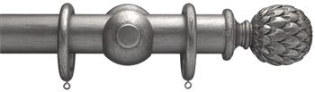 Advent 35mm Metallic Painted Wood Curtain Pole, Pewter, Artichoke