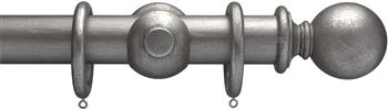 Advent 35mm Metallic Painted Wood Curtain Pole, Pewter, Plain Ball