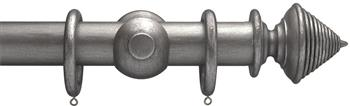 Advent 47mm Curtain Pole Pewter Reeded Cone