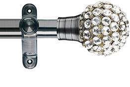 Galleria 35mm Eyelet Curtain Pole Brushed Silver, Clear Jewelled Cage