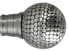 Galleria and G2 Galleria 35mm Finial Only, Brushed Silver, Flat Stud