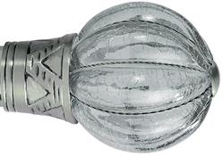 Galleria and G2 Galleria 35mm Finial Only, Brushed Silver,Cracked Glass Pumpkin