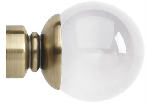 Rolls Neo Premium 28mm by Hallis Hudson Clear Ball Finial only with Spun Brass effect collar