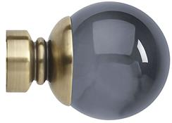 Neo Premium 28mm Smoke Grey Ball Finial Only, Spun Brass