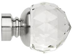 Neo Premium 28mm Clear Faceted Ball Finial Only, Stainless Steel