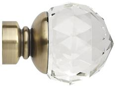 Neo Premium 28mm Clear Faceted Ball Finial Only, Spun Brass