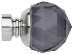 Neo Premium 28mm Smoke Grey Faceted Ball Finial Only, Stainless Steel