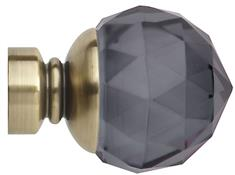 Neo Premium 28mm Smoke Grey Faceted Ball Finial Only, Spun Brass