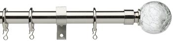 Universal 19mm Metal Curtain Pole, Satin Steel, Crackled Glass