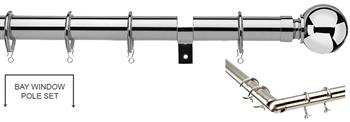 Universal 28mm Metal Bay Window Curtain Pole, Chrome, Ball