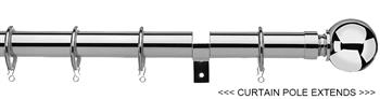 Universal 25/28mm Metal Extendable Curtain Pole, Chrome, Ball