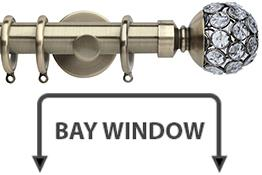Neo Style 28mm Bay Window Curtain Pole Spun Brass Jewelled Cage Ball