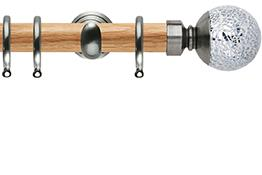 Neo 28mm Oak Wood Curtain Pole, Stainless Steel Cup, Mosaic Ball
