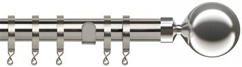 Speedy Poles Apart 28mm Curtain Pole, Standard, Satin Silver, Sphere