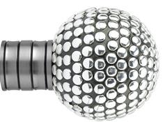 Galleria and G2 Galleria 35mm Finial Only, Brushed Silver, Shiny Studded Ball