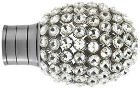 Galleria and G2 Galleria 35mm Finial Only, Brushed Silver, Clear Jewelled Bulb