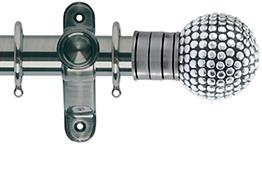 Galleria 50mm Brushed Silver Curtain Pole, Shiny Studded Ball