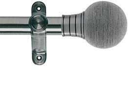 Galleria 35mm Eyelet Curtain Pole Brushed Silver, Beaded Ball