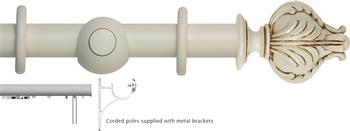Museum 45mm, 55mm Corded Curtain Pole, Antique White, Vienna