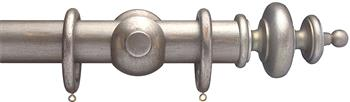 Advent 35mm Metallic Painted Wood Curtain Pole, Distressed Silver, Classic Turned