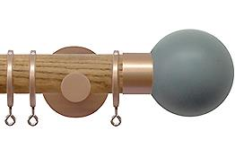 Jones Strand 35mm Wood Curtain Pole Light Oak, Rose Gold Painted Ball, Lead