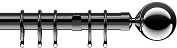 Speedy Nikola 28mm Curtain Pole Polished Graphite, Sphere
