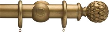 Advent 35mm Metallic Painted Wood Curtain Pole, Distressed Gold, Artichoke