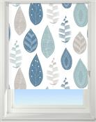 Universal Patterned Blackout Roller Blind, Leaf Blue
