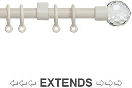 Speedy 13mm-16mm Extendable Curtain Pole Cream, Acrylic Ball