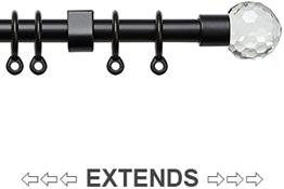 Speedy 13mm-16mm Extendable Curtain Pole Black, Acrylic Ball
