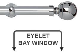 Neo 28mm Eyelet Bay Window Curtain Pole Chrome Ball