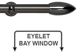 Neo 28mm Eyelet Bay Window Curtain Pole Black Nickel Bullet