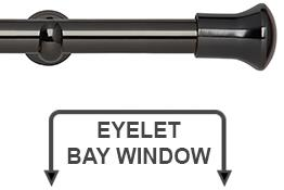 Neo 28mm Eyelet Bay Window Curtain Pole Black Nickel Trumpet