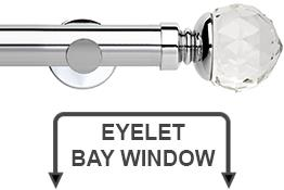 Neo Premium 28mm Eyelet Bay Window Curtain Pole Chrome Clear Faceted Ball