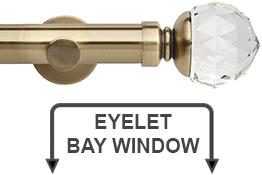 Neo Premium 28mm Eyelet Bay Window Curtain Pole Spun Brass Clear Faceted Ball