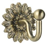 Swish Decorative Curtain Tieback Hook, Floral, Antique Brass