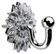 Swish Decorative Curtain Tieback Hook, Floral, Chrome
