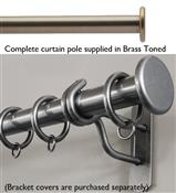 Bradley 19mm Steel Curtain Pole, Brass Toned, Medium Stud
