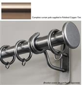 Bradley 19mm Steel Curtain Pole, Polished Copper Tint, Large Stud