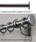 Bradley 19mm Steel Curtain Pole, Bronzed, Large Stud