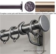 Bradley 19mm Steel Curtain Pole, Polished Copper Tint, Hammered Stud