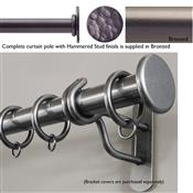 Bradley 19mm Steel Curtain Pole, Bronzed, Hammered Stud