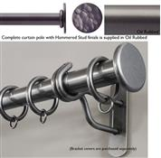 Bradley 19mm Steel Curtain Pole, Oil Rubbed, Hammered Stud