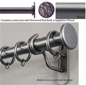Bradley 25mm Steel Curtain Pole, Waxed, Hammered Stud