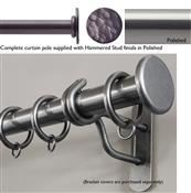 Bradley 25mm Steel Curtain Pole, Polished, Hammered Stud